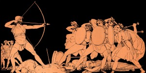 Homer, The Odyssey. Ulysses (Odysseus) killing the Suitors of his wife Penelope on the island of Ithaca Homer, blind Greek poet, c. 800 - 600 BCE, Trojan War, epic; illustration after Flaxman (Photo by Culture Club/Getty Images)